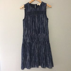 Michael Kors Multi Blue Floral Crochet Midi Dress